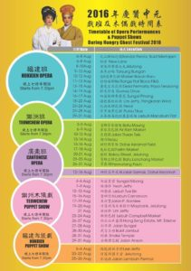 Sechedule of Hungry Ghost Festival 2016